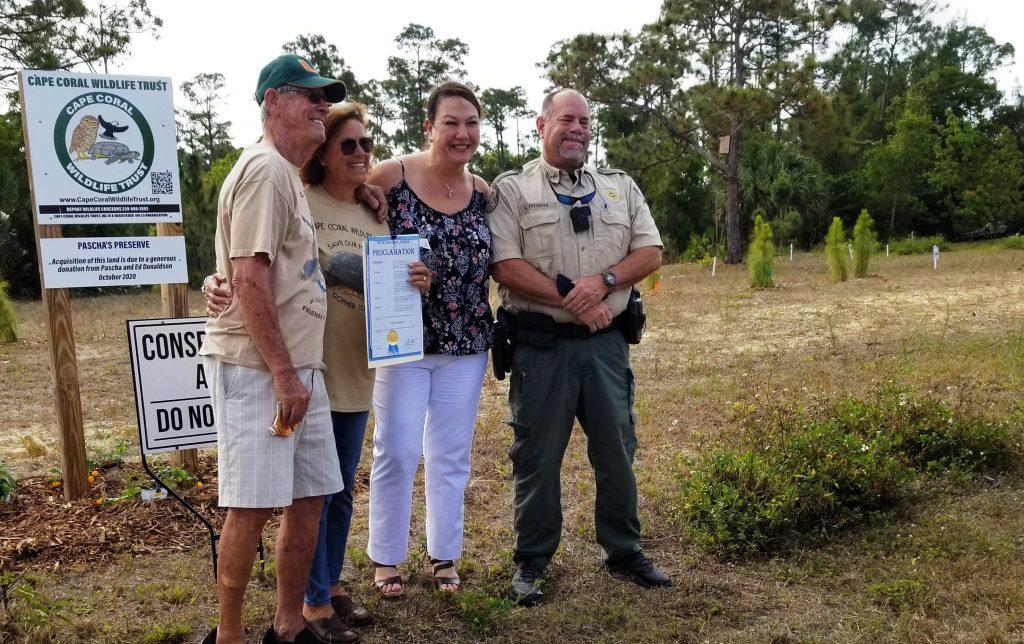 Ed & Pascha Donaldson, Council Member, Jennifer Nelson, FWC Officer Kyle Rogers